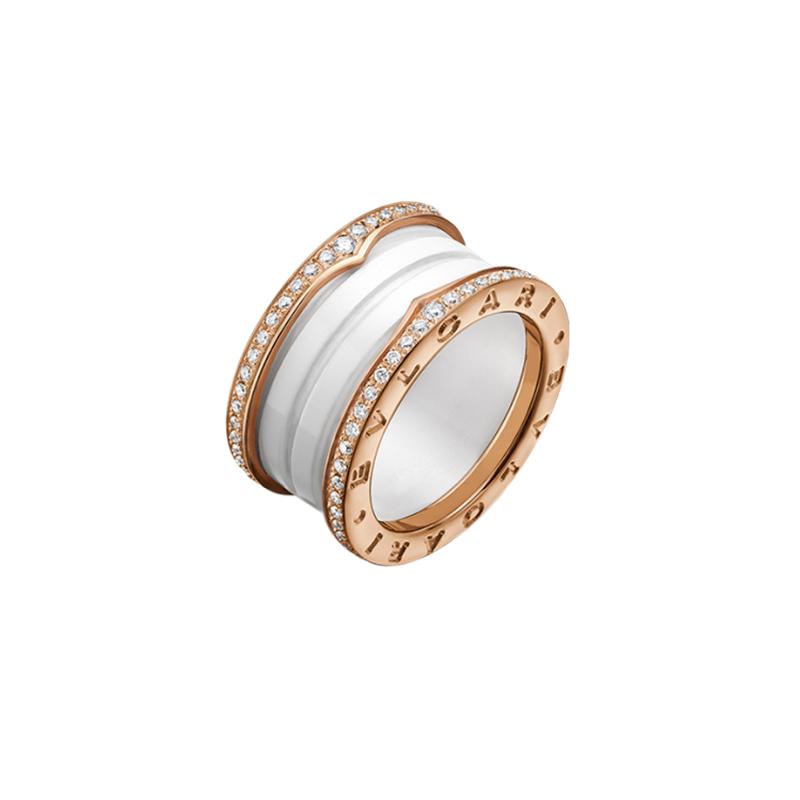 gioielliDonnaAnello Donna Bulgari B.zero1 ceramica bianca diamante