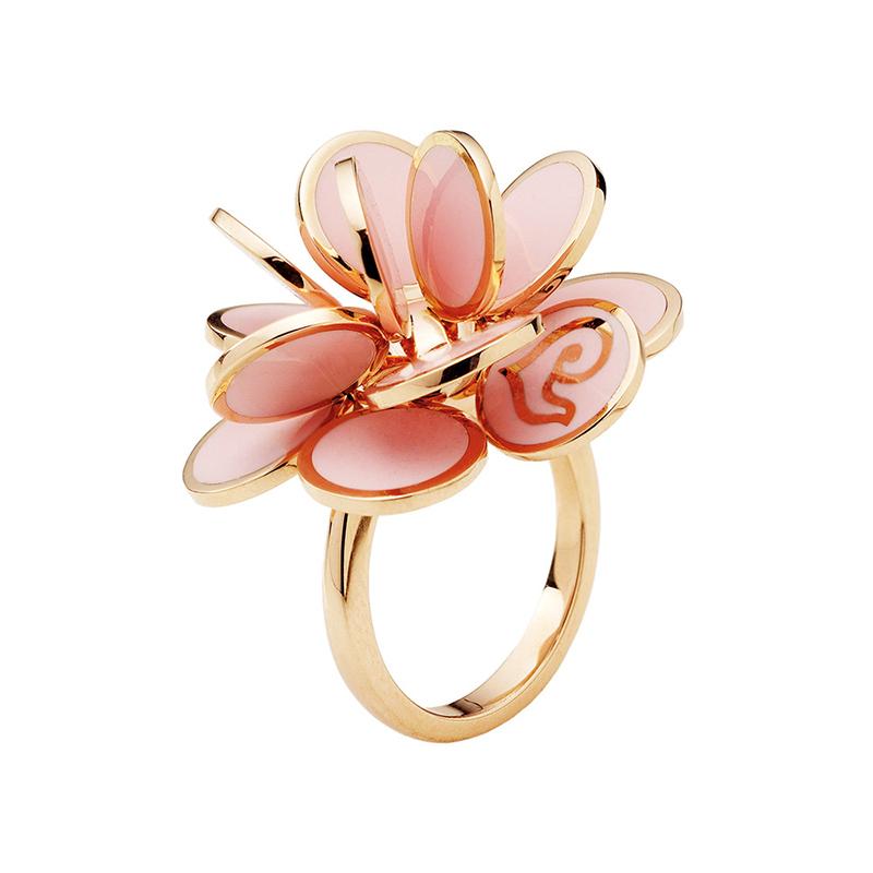 gioielliDonnaAnello Donna Chantecler Paillettes oro rosa e smalto rosa cipria