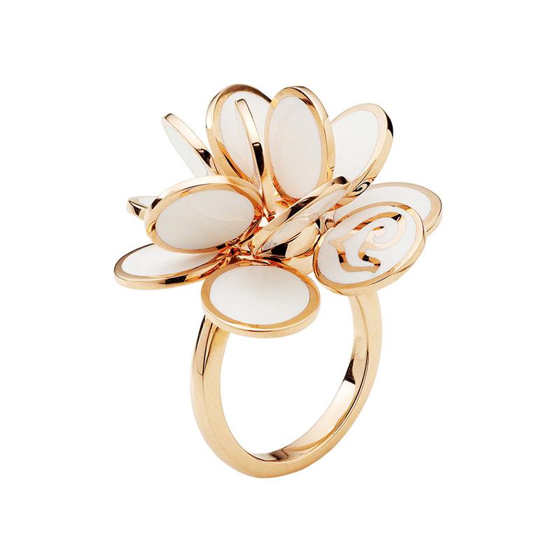 gioielliDonnaAnello Donna Chantecler Paillettes oro rosa e smalto bianco