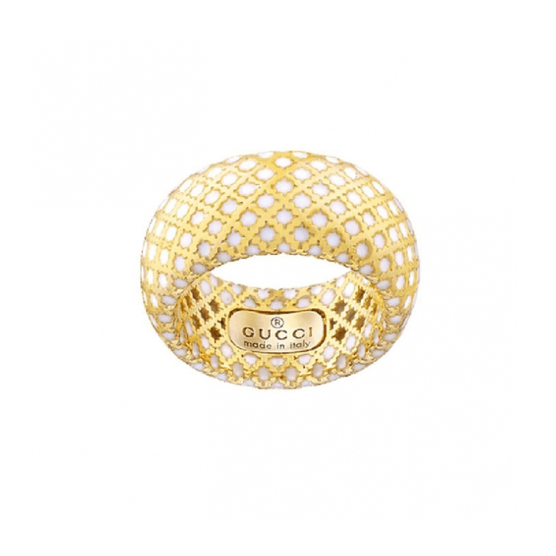 gioielliDonnaAnello Donna Gucci Diamantissima in oro giallo smalto bianco