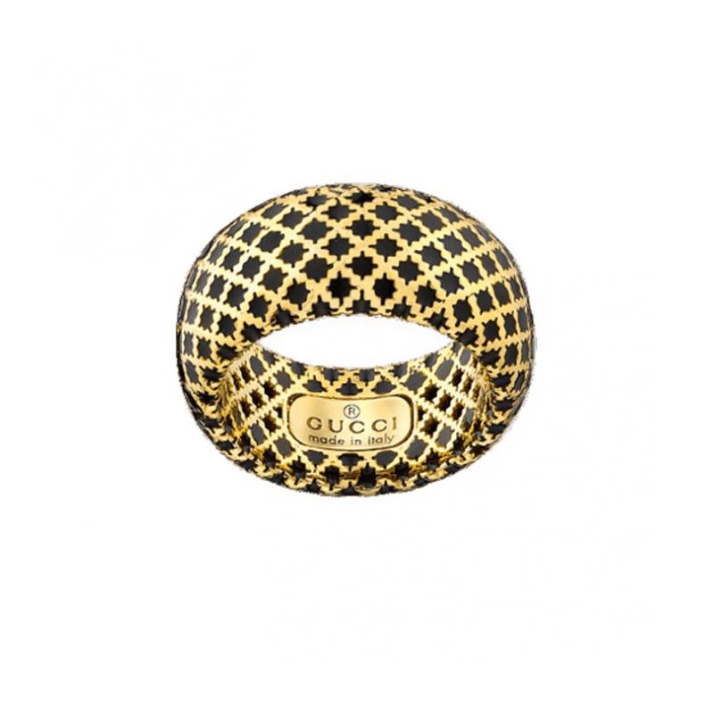 gioielliDonnaAnello Donna Gucci Diamantissima in oro giallo smalto nero