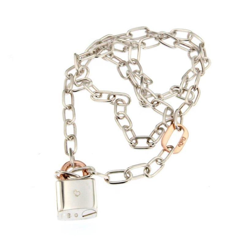 orologiArgentoCollana Dodo con lucchetto argento oro rosa