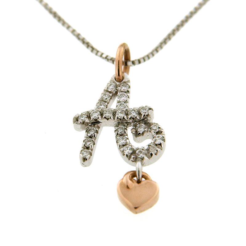gioielliDonnaCollana Donna Love iniziale A in oro e diamanti