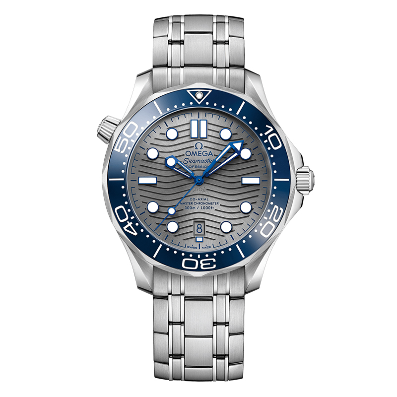 orologiUomoOmega Seamaster 300M Diver Co-Axial Master Chronometer Acciaio Quadrante Argento indici Blu