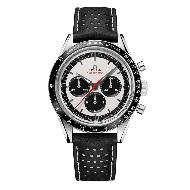 orologiUomoOmega Speedmaster Moonwatch chronograph argento leggermente sabbiato