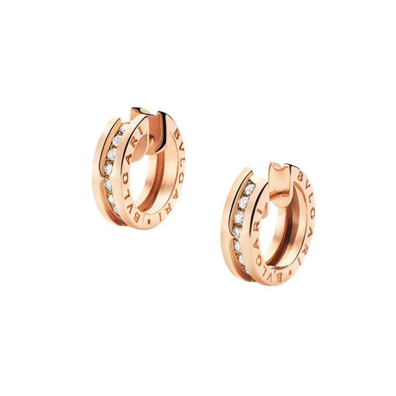 gioielliDonnaOrecchini Donna Bulgari B.zero1 piccoli oro rosa diamante