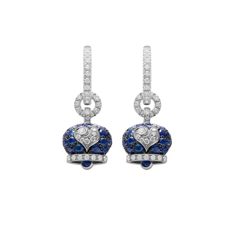 gioielliDonnaOrecchini Donna Chantecler Campanella piccoli zaffiro blu diamante