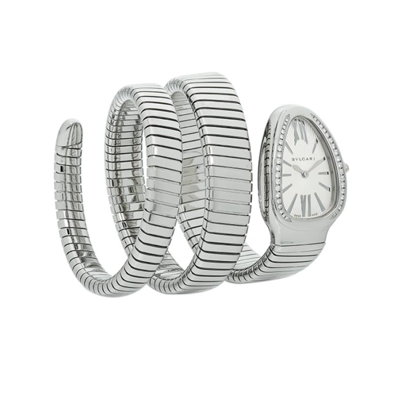 orologiDonnaOrologio Bulgari Serpenti Tubogas acciaio con diamanti