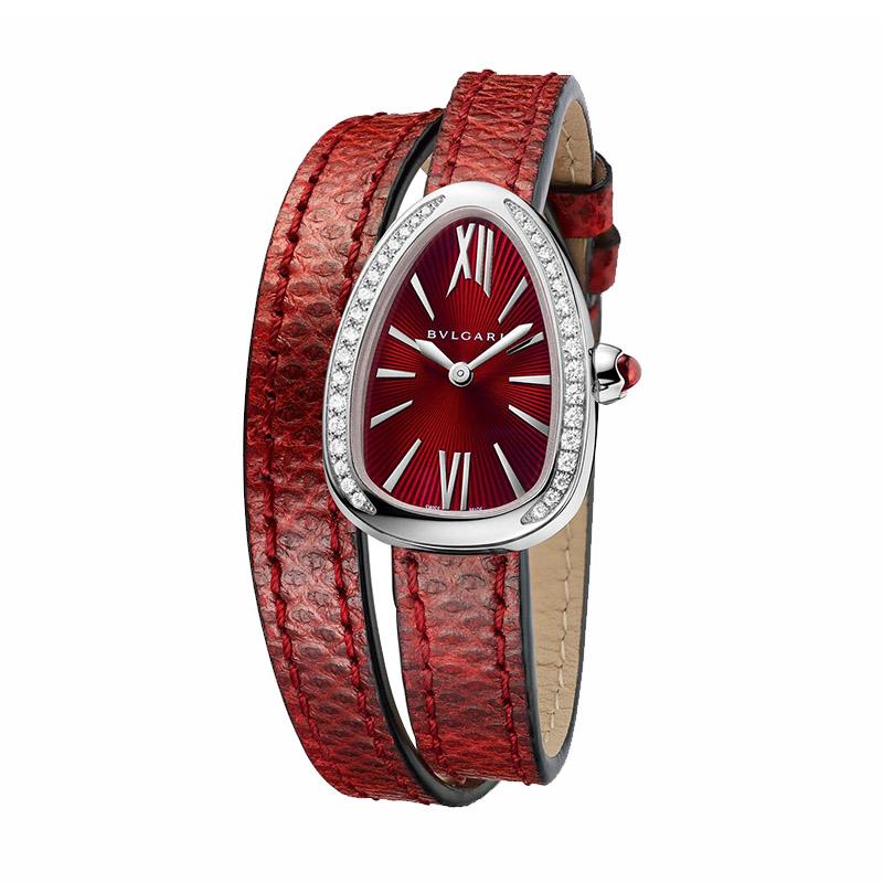 orologiDonnaOrologio Bulgari Serpenti acciaio diamante karung rosso