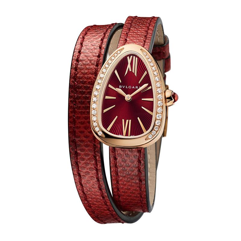 orologiDonnaOrologio Donna Bulgari Serpenti oro rosa diamante karung rosso