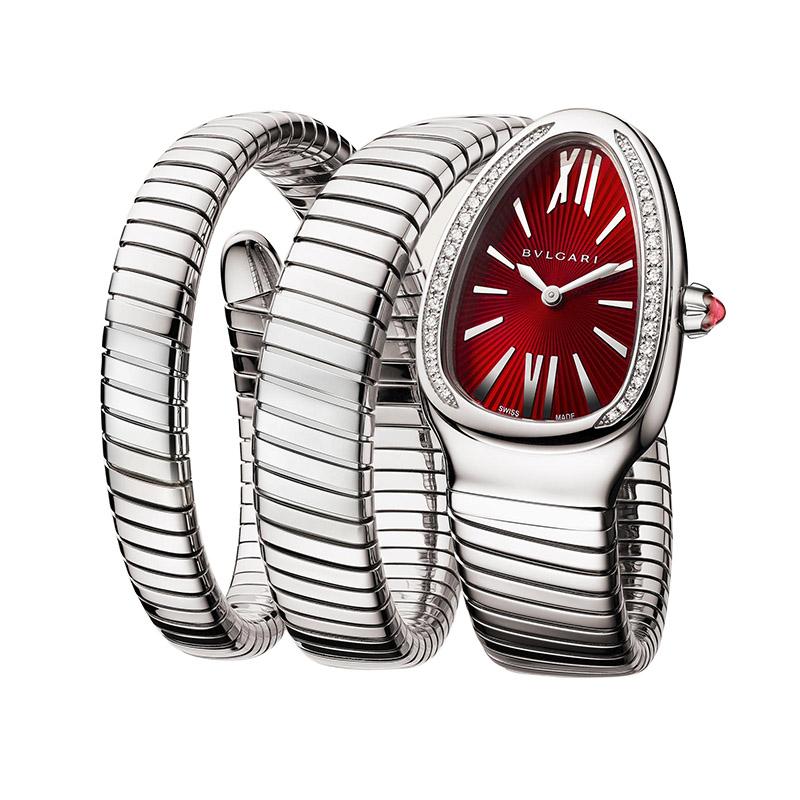 orologiDonnaOrologio Bulgari Serpenti Tubogas acciaio doppia spirale rosso