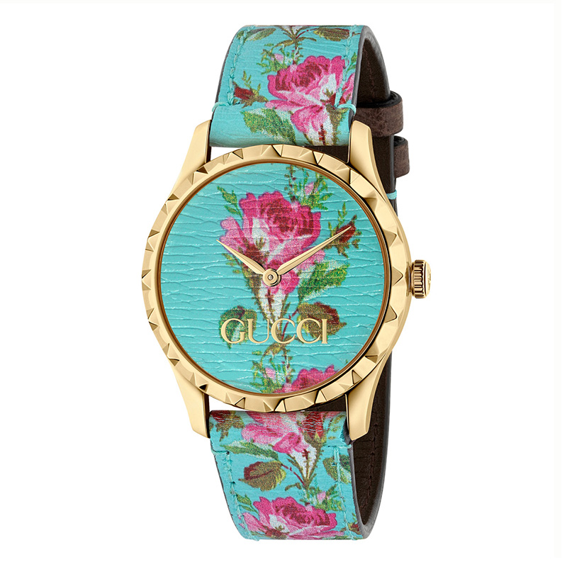 orologiDonnaOrologio Donna Gucci G-Timeless celeste floreale