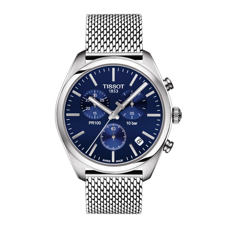 orologiUomoOrologio Tissot PR 100 chronograph blu acciaio