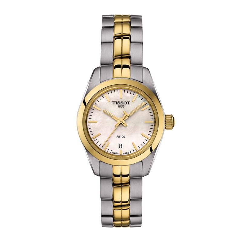 orologiDonnaOrologio Tissot PR 100 Small madreperla PVD oro giallo