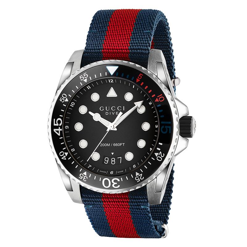 orologiUomoOrologio Uomo Gucci Dive blu rosso
