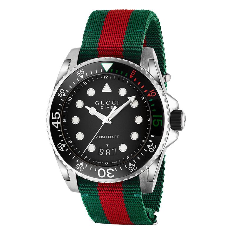 orologiUomoOrologio Uomo Gucci Dive verde rosso