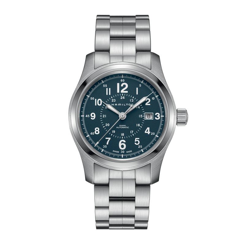 gioielli-e-orologiUomoOrologio  Hamilton Khaki Field acciaio quadrante blu