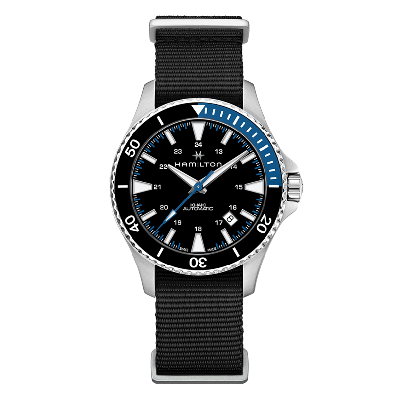 gioielli-e-orologiUomoOrologio Uomo Hamilton Khaki Navy Scuba nero blu tessuto