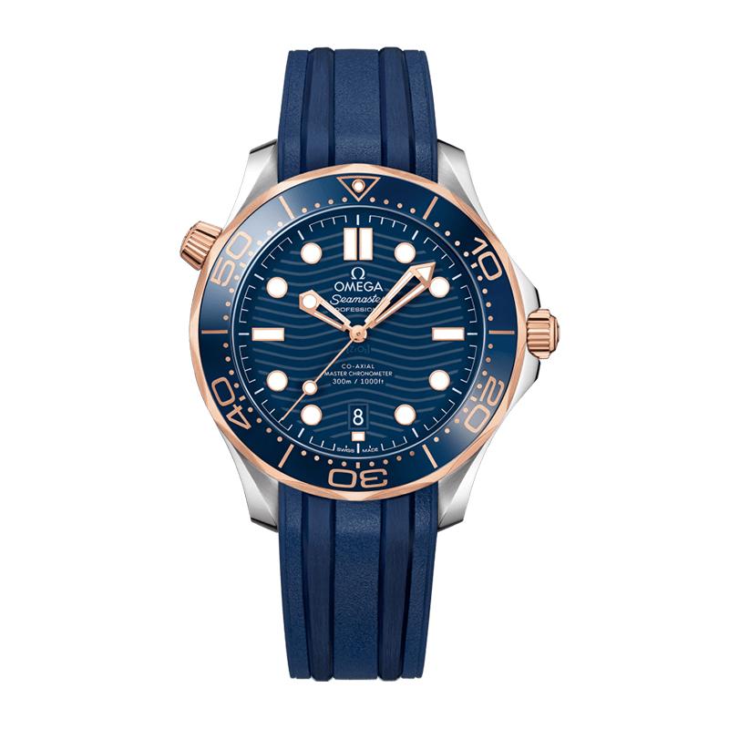 orologiUomoOmega Seamaster 300M Diver Co-Axial Master Chronometer Aciiaio Oro Rosa Quadrante Blu