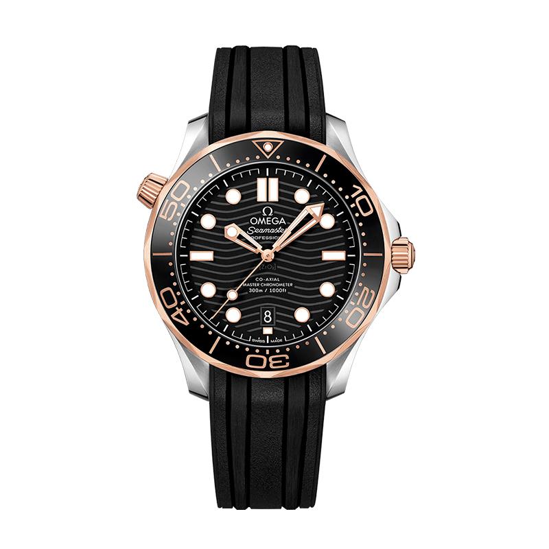 orologiUomoOmega Seamaster 300M Diver Co-Axial Master Chronometer Acciaio Oro Rosa Quadrante Nero