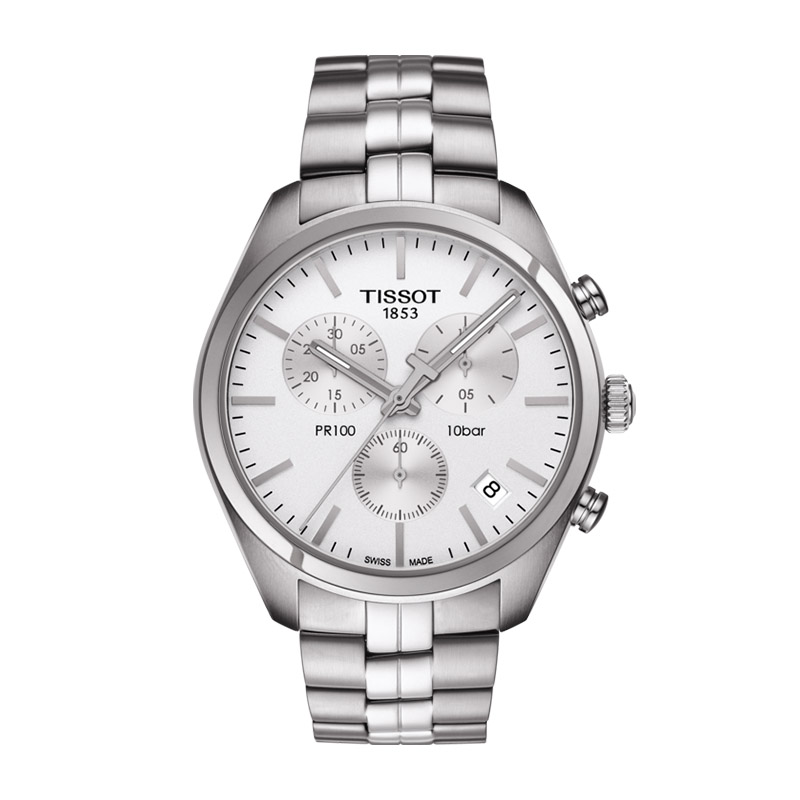 orologiUomoOrologio Uomo Tissot PR 100 chronograph quadrante silver