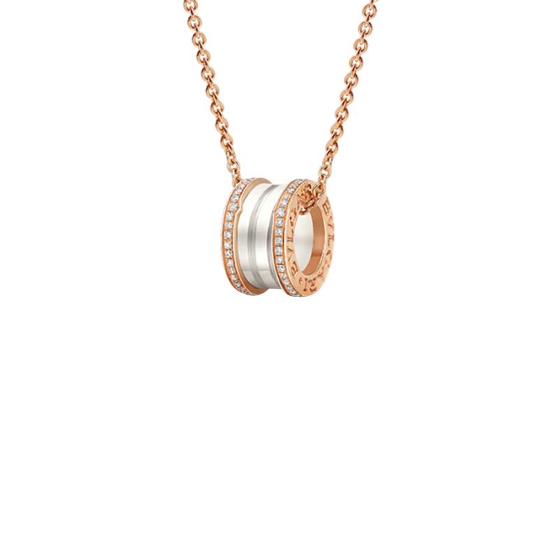 gioielliDonnaPendente Donna Bulgari B.zero1 ceramica bianca diamante